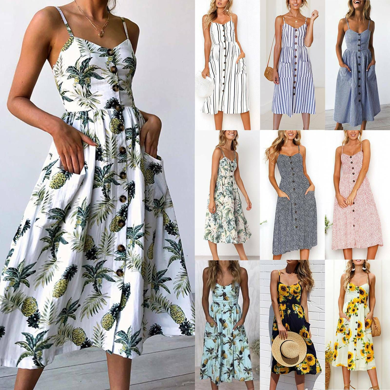 Womens Buttons Floral Beach Sundress Summer Casual Strappy Holiday Party Dress Summer Dresses Ideas Maxi Dress Cocktail Midi Dress Party Midi Dress Summer [ 1600 x 1600 Pixel ]