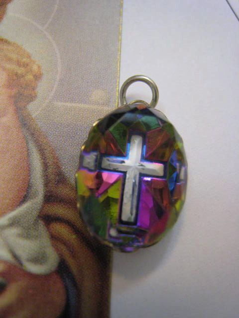Vintage 1950s Rainbow Prism Crystal Cross Pendant by Glamaroni, $16.00