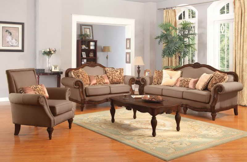 traditional living room furniture with wooden table