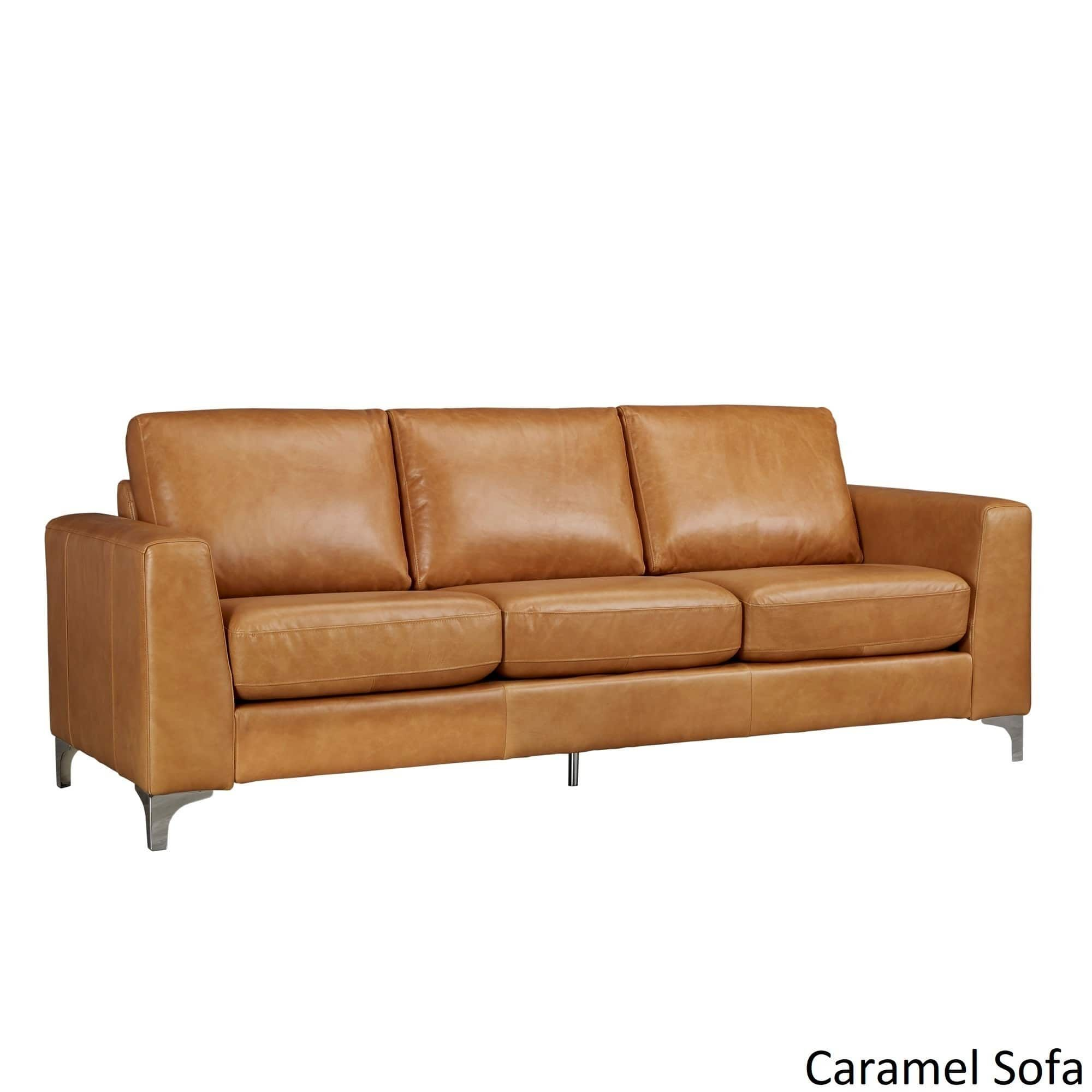 Bastian Aniline Leather Sofa By INSPIRE Q Modern (Discontinued), Orange  (Faux Leather)