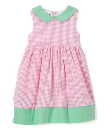 6947b988e Look at this  zulilyfind! Pink Gingham   Mint Collar Dress - Infant ...