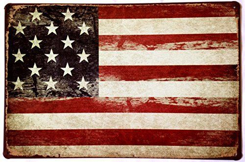 American Flag Tin Sign Vintage Retro Metal Wall Decor America #Americana