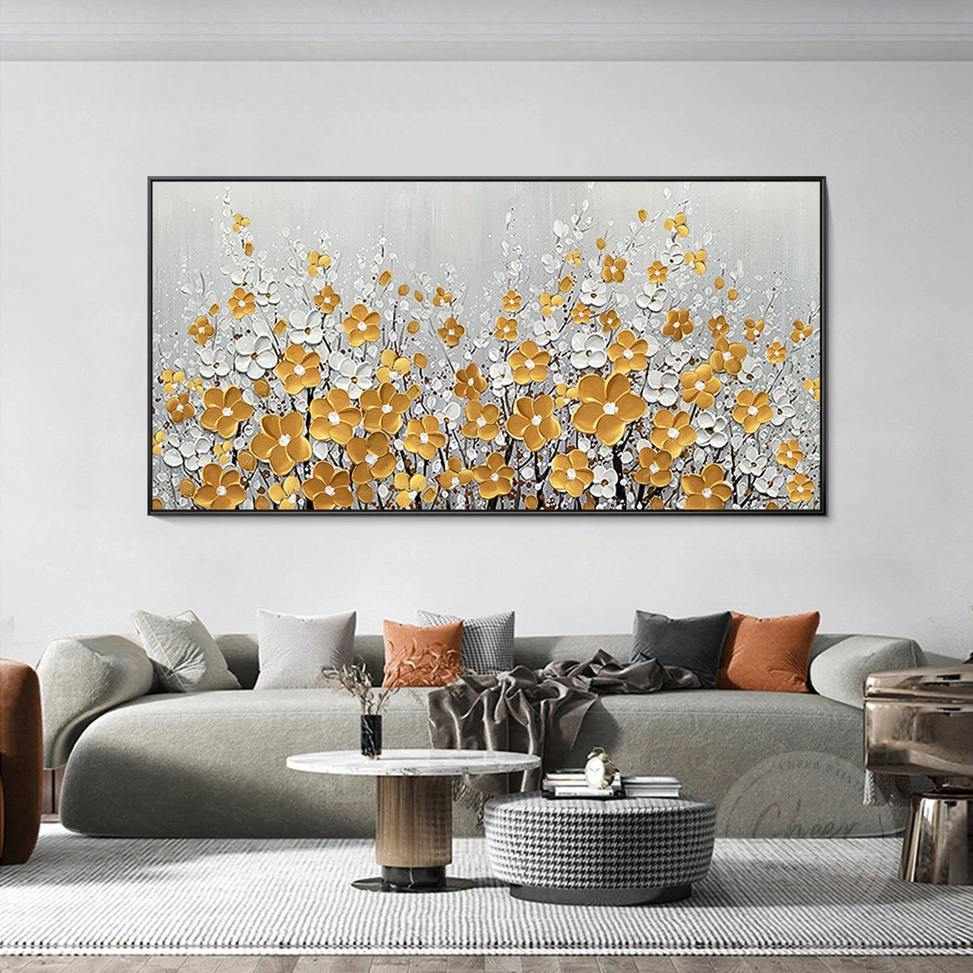 Flower Painting Bathroom Large Original Oil Painting Heavy Etsy In 2021 Large Paintings Living Room Painting Flower Painting Canvas