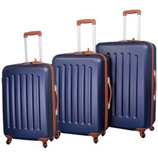 Buy Go Explore 4 Wheel Small Hard Suitcase - Navy and Tan at Argos ...