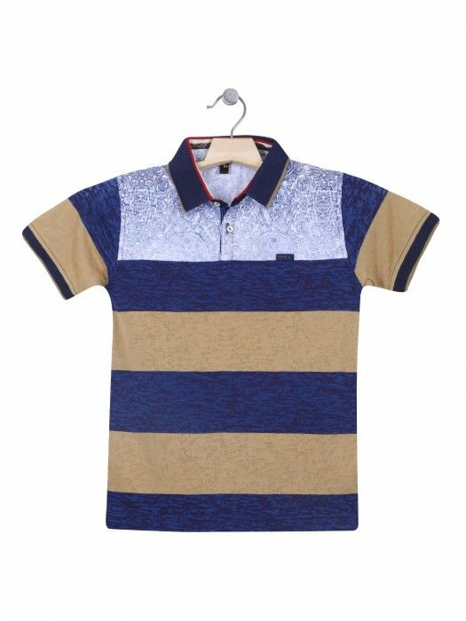 47be95641d Shop Stride cotton navy casual wear printed polo T shirt online from  G3fashion India. Brand - Stride, Product code - G3-BTS1156, Price - 690,  Color - Navy, ...