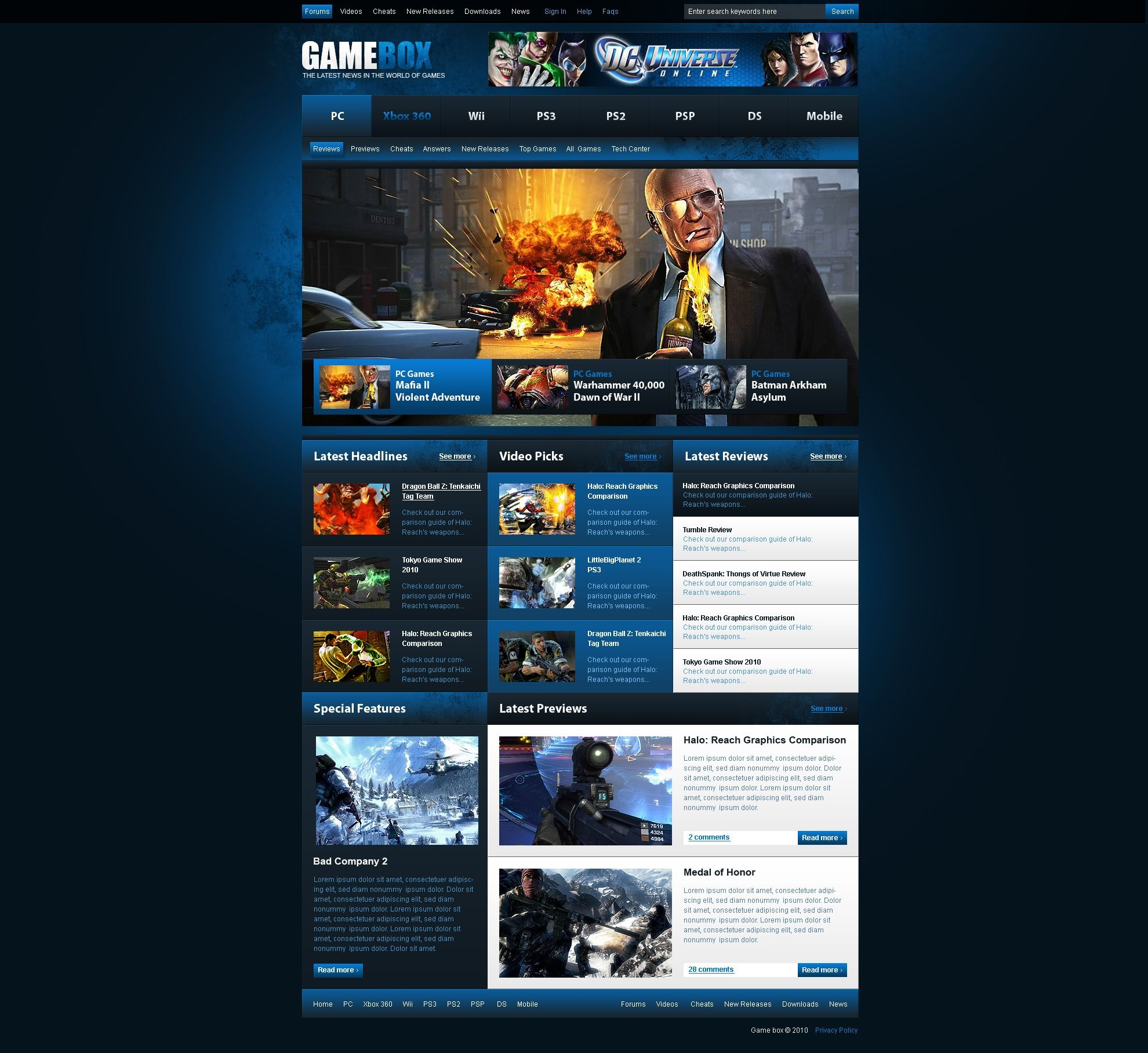 Games PSD Template #54465