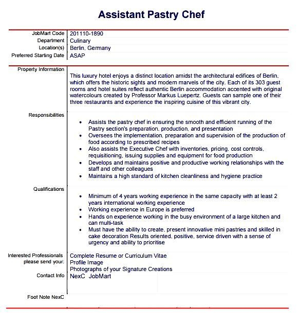 pastry chef resume template free samples examples amp format - pastry chef resume