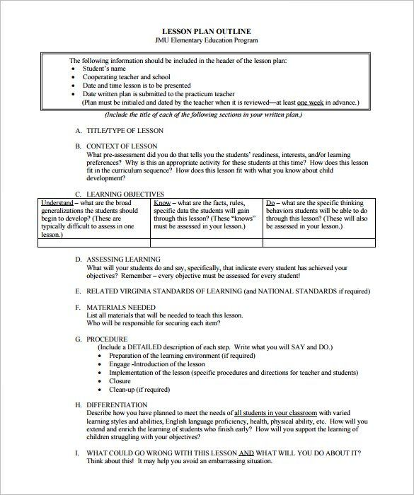 Sample Lesson Plan Outline Template Pdf Downloadg 585700