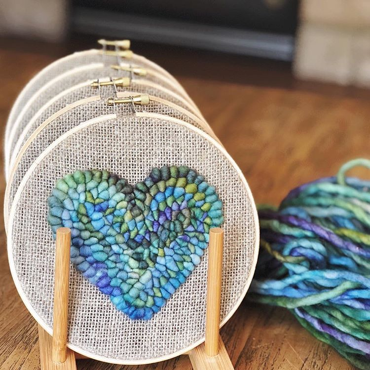 """Katie Stackhouse on Instagram: """"Starting to get market ready, and this might be my new favourite yarn. 💚💜💙⠀ .⠀ .⠀ #punchneedle #rughooking #tapestry #fibreart #wallhanging…"""""""