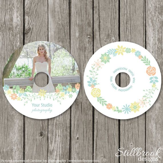 Floral CD Label Template for Photographers - Wedding Photography - cd label