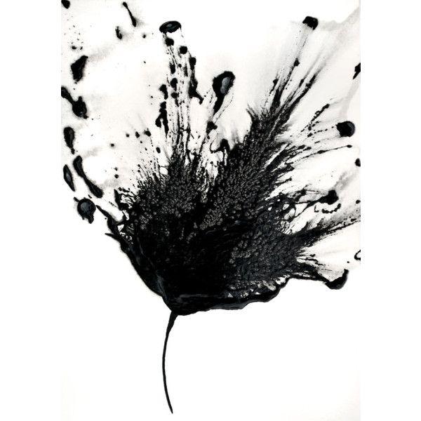 Black White Art Abstract Flower Painting 5x7 Artwork Original