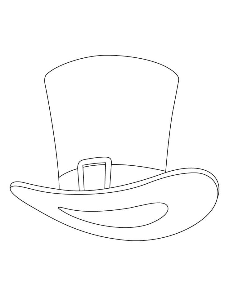 Top hat colouring pages coloring page for Top hat template for kids