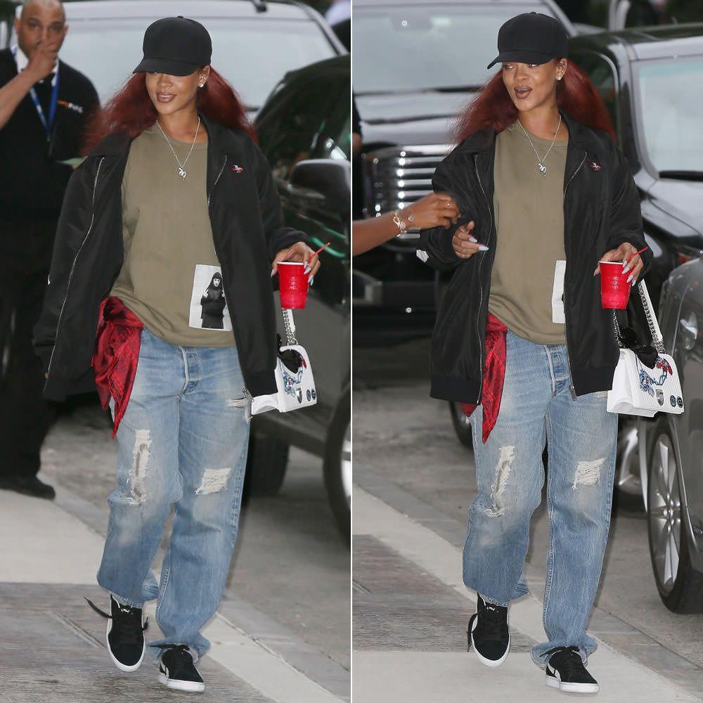 Black sandals rihanna - Rihanna Wearing Sam Mc London Big Logo Jacket Drkshdw By Rick Owens Middle Finger Nun