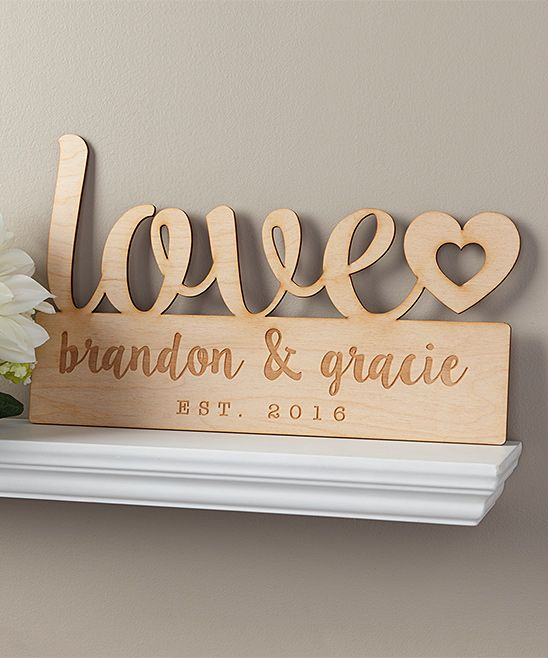 'Love' Personalized Wood Wall Sign