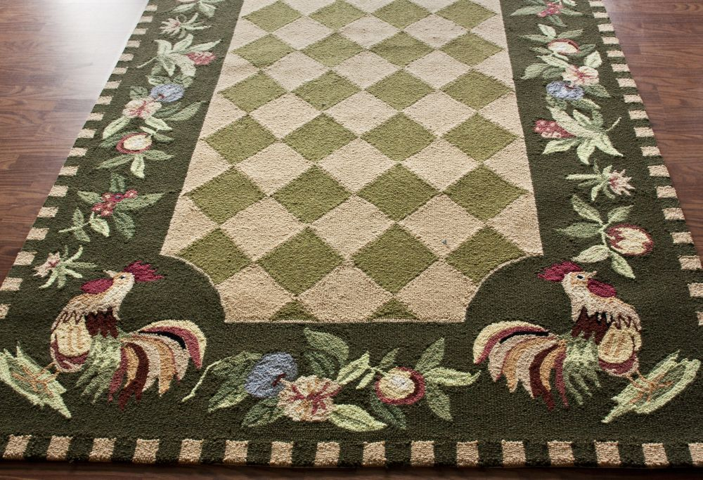 Country Kitchen Fruit Area Rugs New Carpet Rooster Hooked Wool 6 39 Round Green Carpets Green