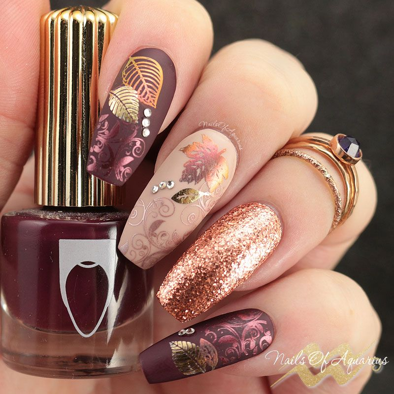 Leaves Are Fall-ing: Pigment and Foil Stamped Nail Art | What s ...