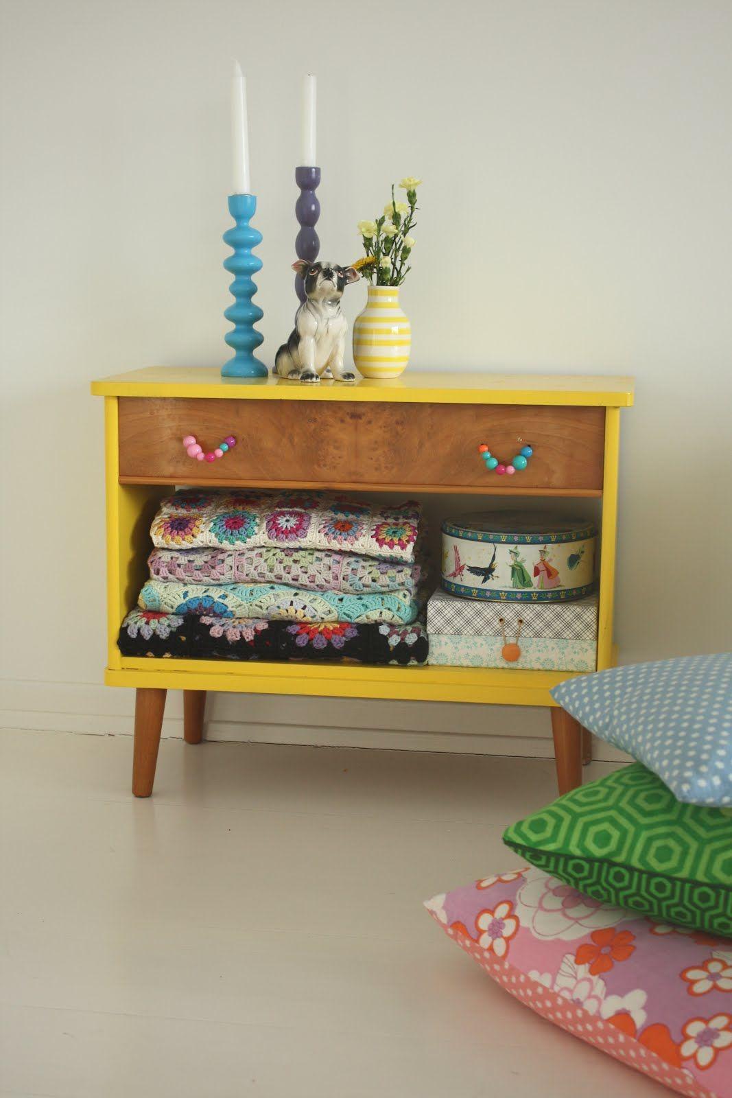 mid-century dresser minus drawer = cute display piece (cute beaded ...