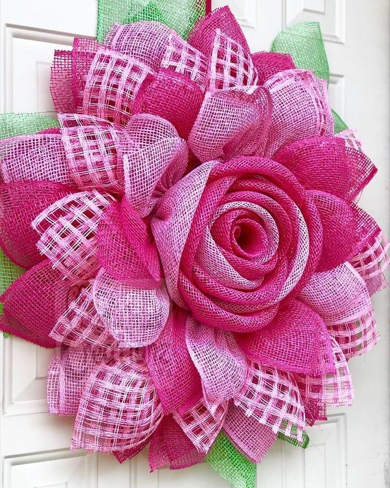 Photo of Large pink flower wreath with a rose center, spring summer wreath, wall decor, poly burlap wreath, custom wreath, front door wreath