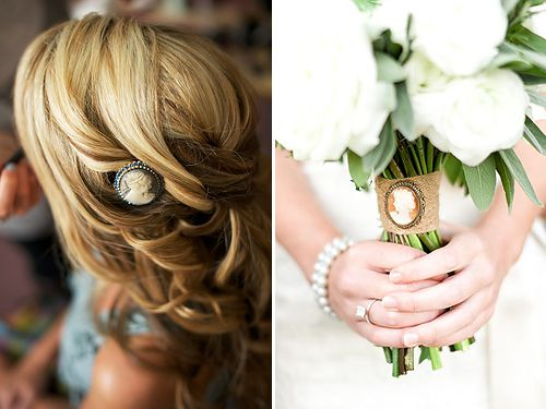 Cameo In Hair As A Bouquet Wrap