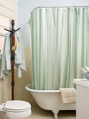 Seafoam Green Shower Curtain And Clothes Rack For Towels Bathrobes
