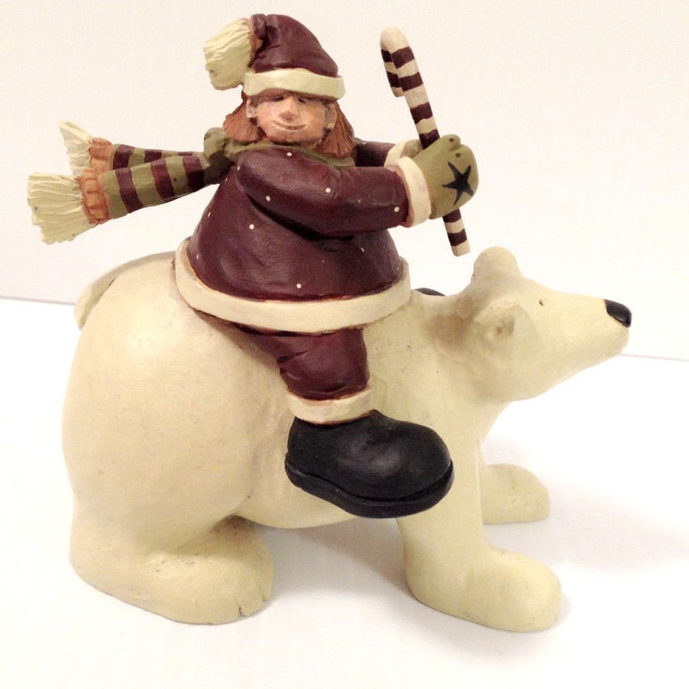 $15.77 2003 Williraye Studios SANTA'S HELPER On Polar Bear Figurine WW2451