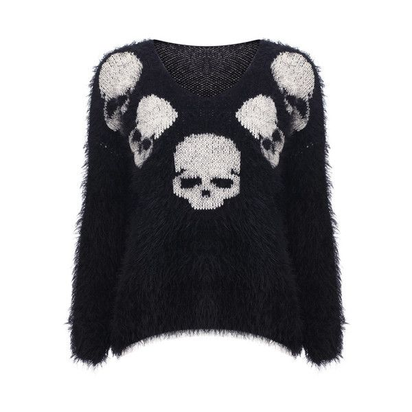 Knitted Skull Print Black Jumper( Halloween sale on 10.26 ) (£39) ❤ liked on Polyvore featuring tops, sweaters, shirts, jumpers, long-sleeve shirt, jumper shirt, long sleeve sweaters, long sleeve jumper и shirt sweater