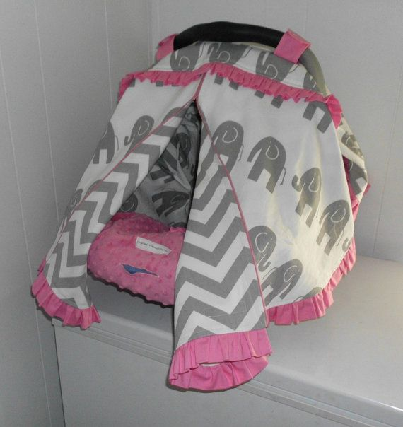 GREY ELEPHANT CHEVRON And Pink Ruffles Zippered Infant Car Seat Cover Canopy Tent