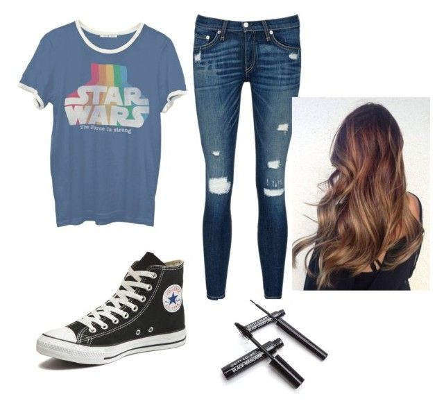 """""""Out you"""" by keithschoolgirld ❤ liked on Polyvore featuring Junk Food Clothing, rag & bone/JEAN and Converse"""