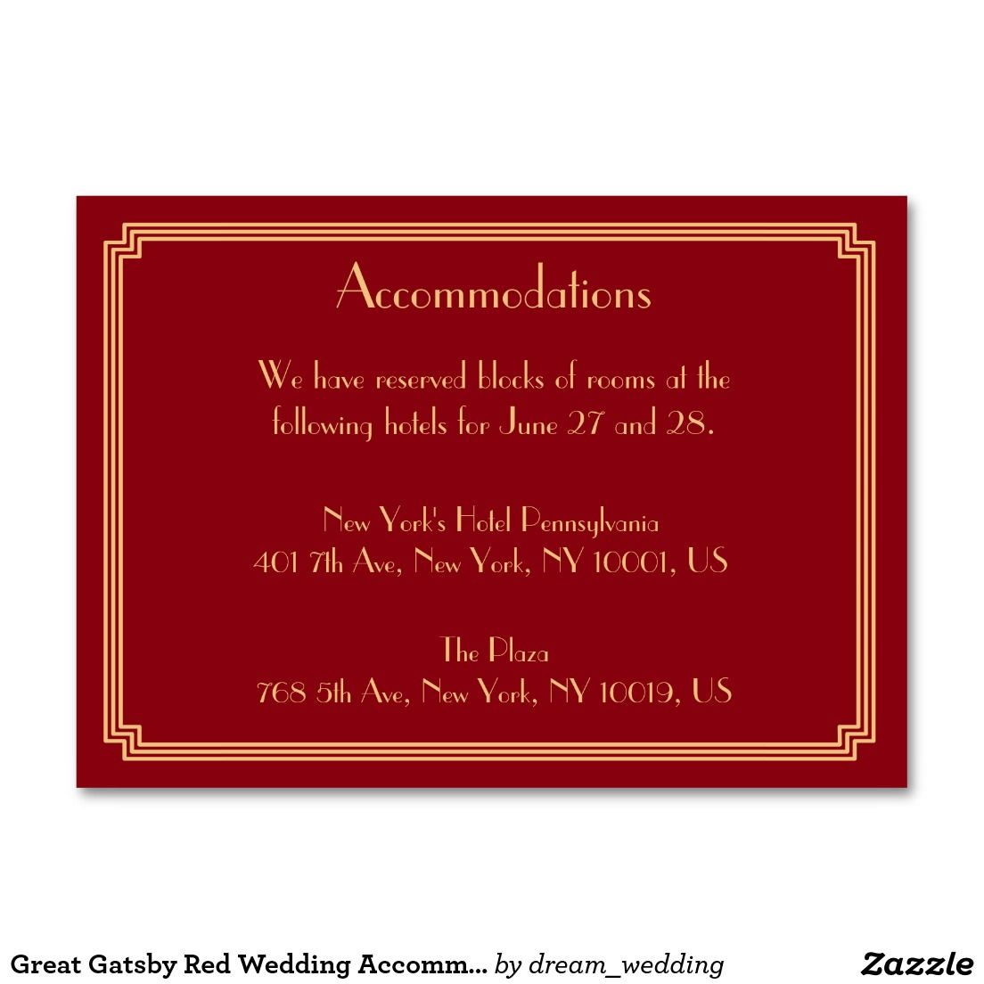 Great Gatsby Red Wedding Accommodation Cards Large Business Card ...