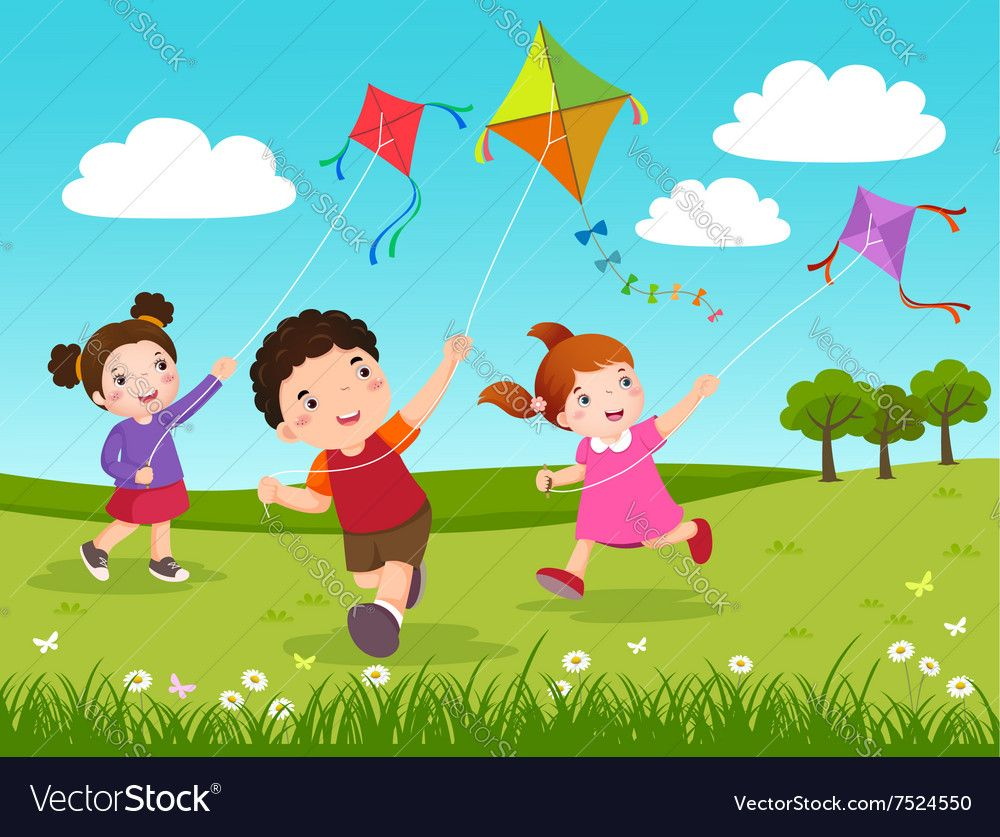 Three Kids Flying Kites In The Park Vector Image On Vectorstock In 2020 Free Vector Graphics Kite Flying Art In The Park