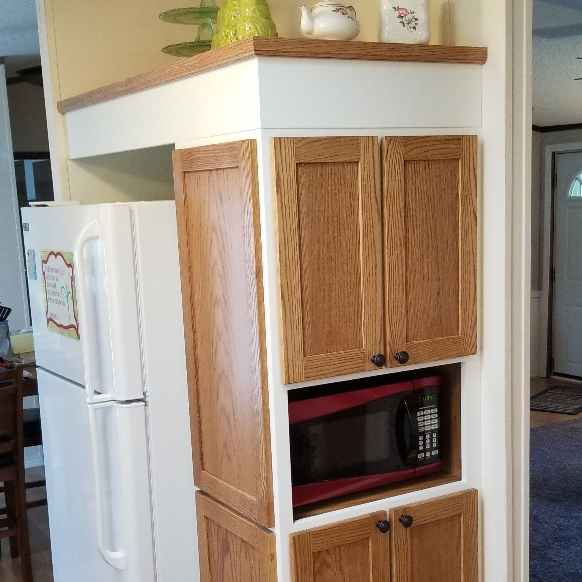 Custom Kitchen Cabinet And Reconditioning I Built A New Pantry And Microwave Cabinet New Doo Kitchen Cabinets Custom Kitchen Cabinets Kitchen Pantry Cabinets