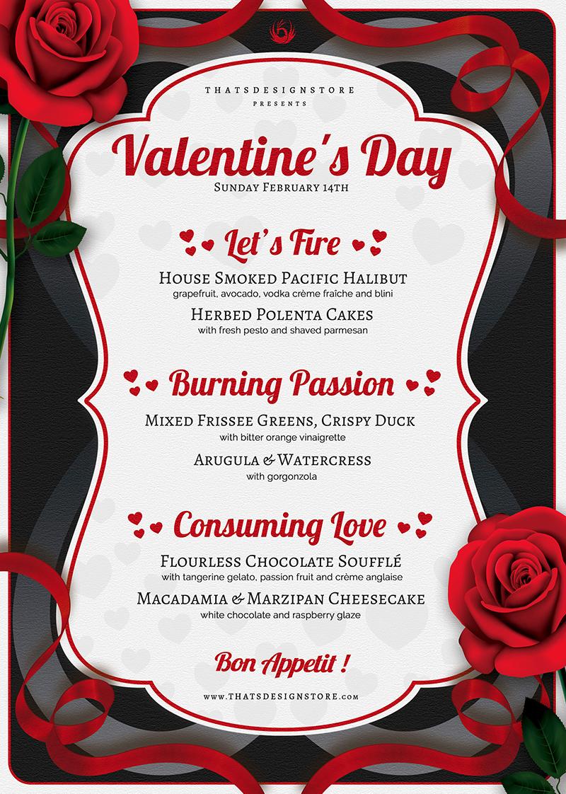 Valentine S Day Menu Template Psd Design For Photoshop Valentine S Day Menu Ideas Menu Template Menu Design Template