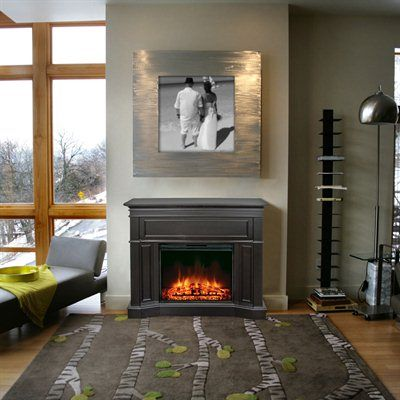 The Transitional Design Of This Espresso Fireplace Complements Any Decor Fireplace Fireplace Mantels Renovation Hardware