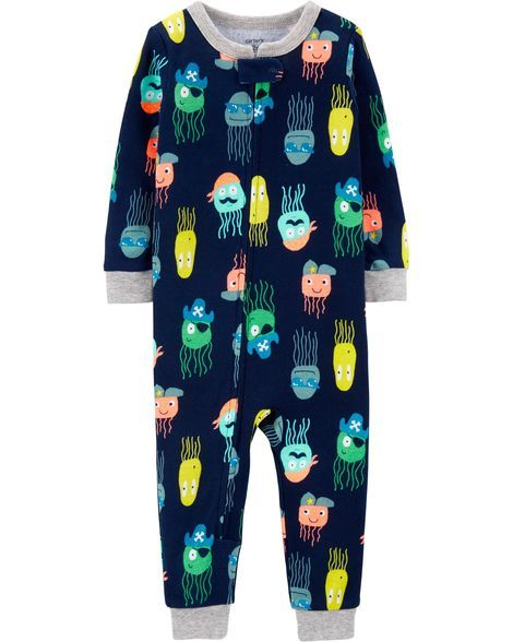 2cdeb8fd5573 1-Piece Jellyfish Snug Fit Cotton Footless PJs in 2019