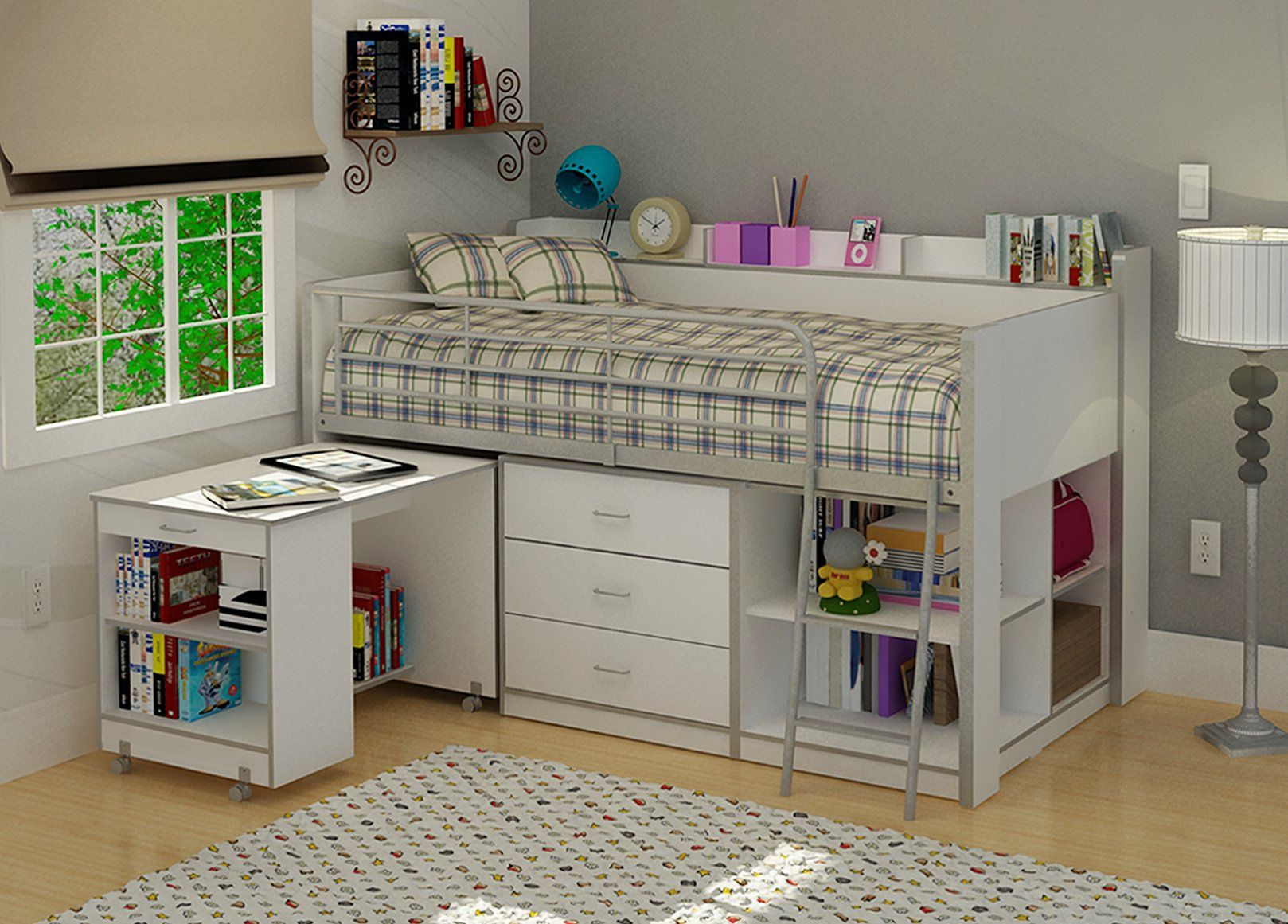 Loft bed with desk for small room  Amazon Rack Furniture Clairmont Loft bedWhite Home u Kitchen