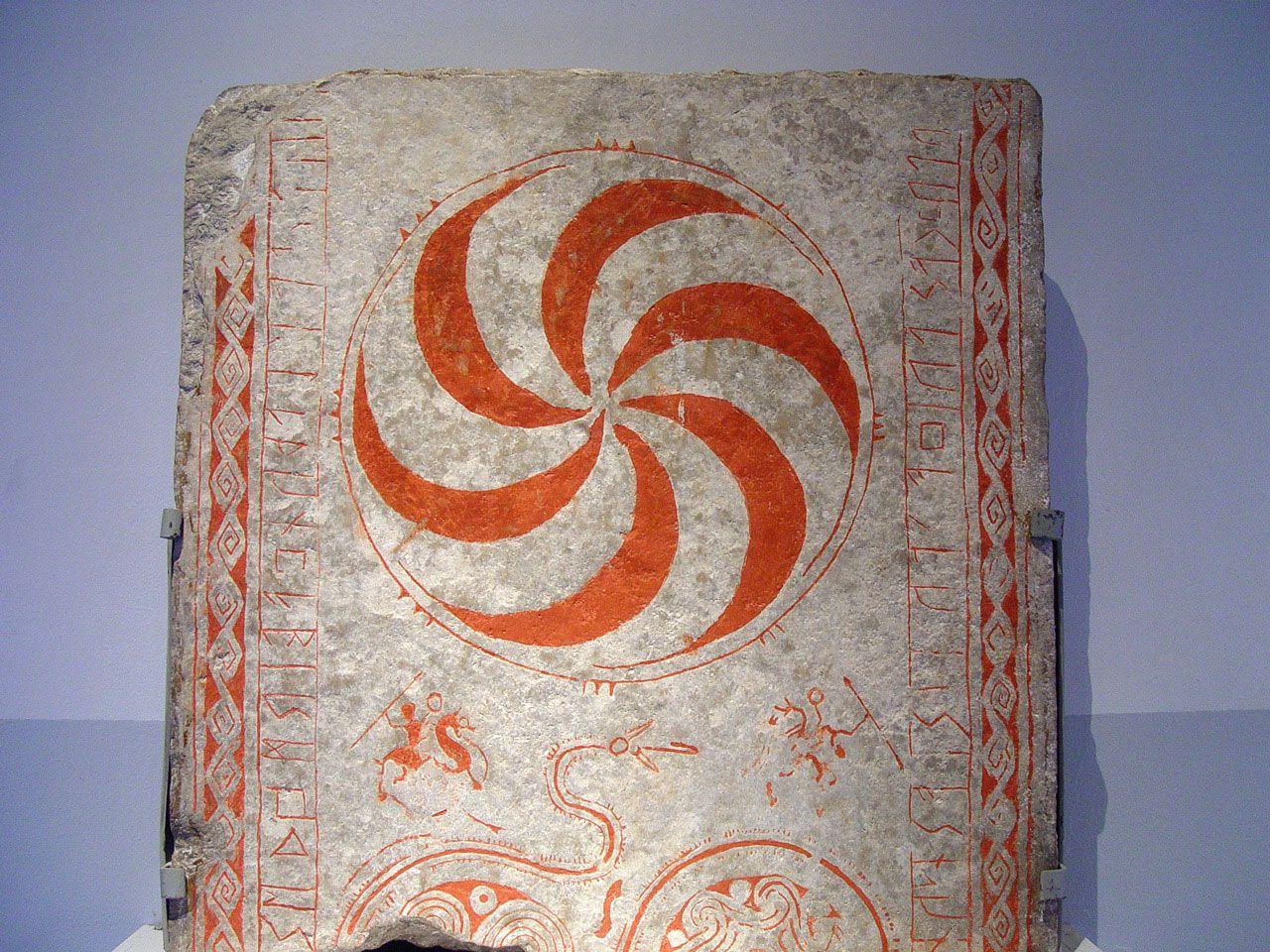 Bildstein Fornsalen - Bildbeschreibung Bildstein im Museum Fornsalen, Visby, Gotland