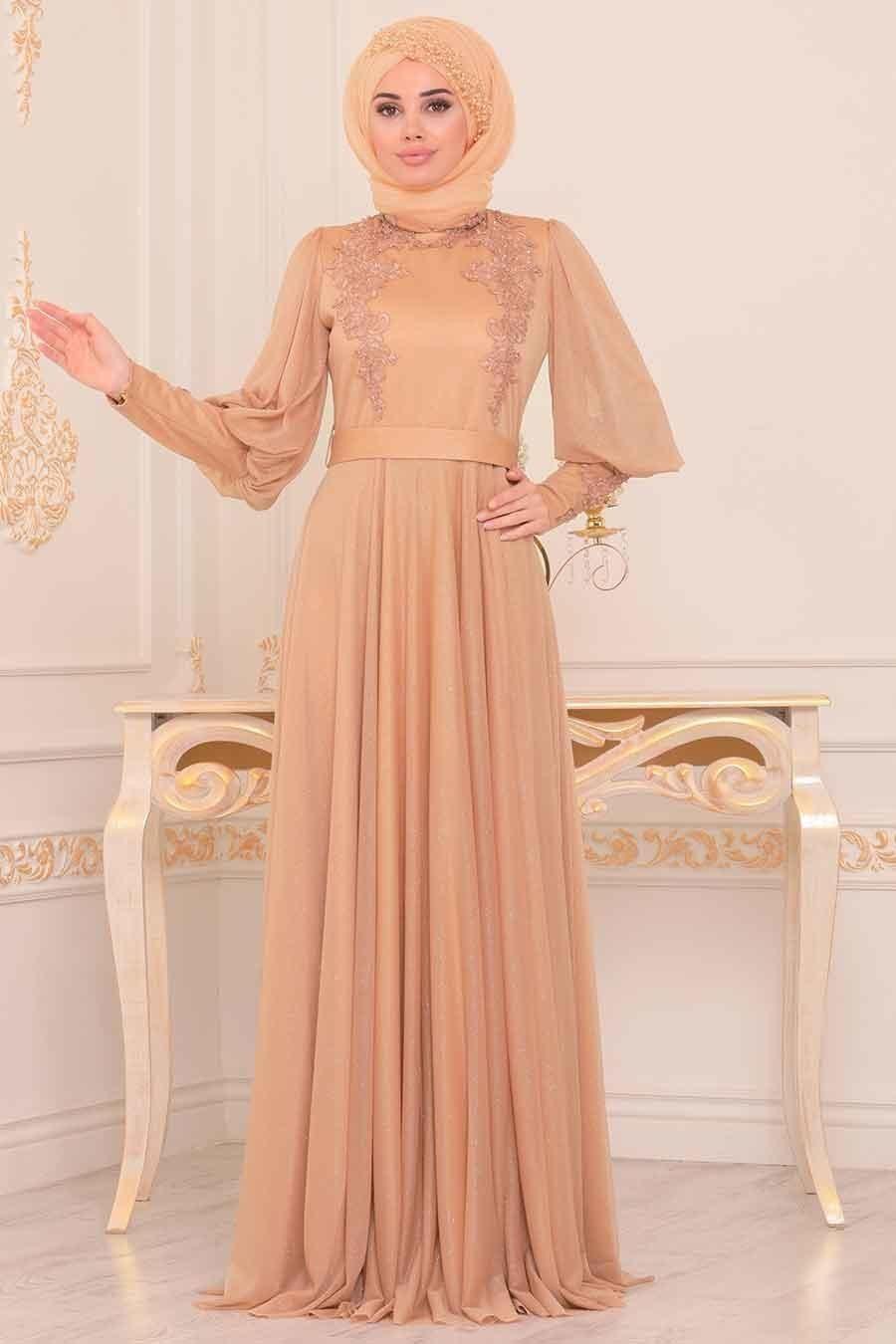 Tesetturlu Abiye Elbise Balon Kol Gold Tesettur Abiye Elbise 39270gold Tesetturisland Com 2020 Elbise Moda Stilleri Nedime Giysileri