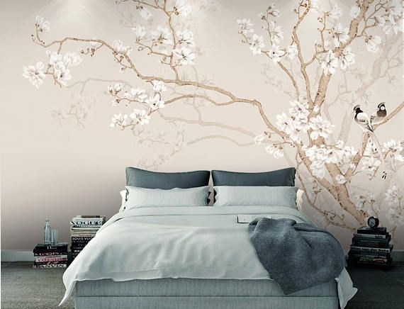 Chinoiserie Magnolia Birds Wallpaper Removable Wall Decal Wall Murals Bedroom Tree Wall Murals Custom Photo Wallpaper