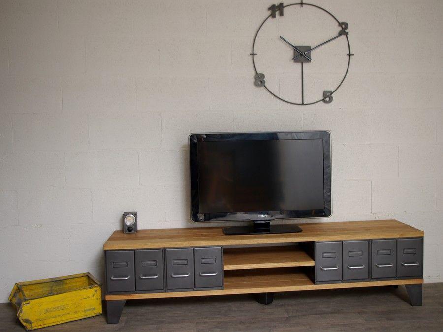 Meuble tv style industriel à tiroirs - Ref Denver - Heure Création ...