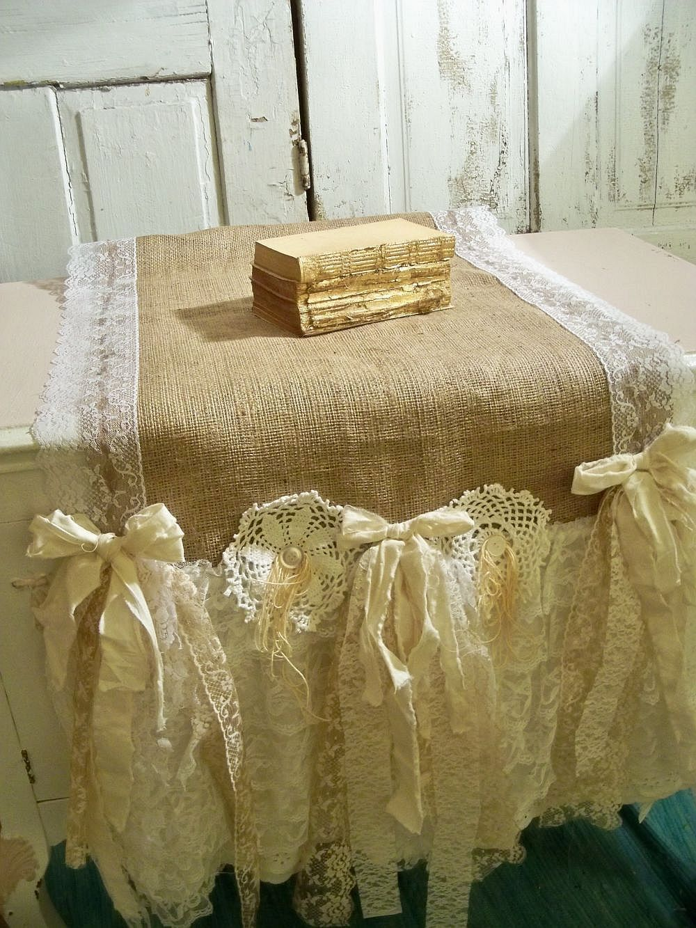 Shabby Chic Table Runner Burlap Fabric Recycled Muslin Lace French  Farmhouse Inspired Linen Ooak Anita Spero. $115.00, Via Etsy.