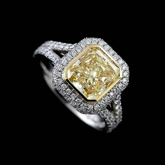 Canary Diamond Ring Setting Split Shank Engagement Ring Double Halo Diamond Ring Two Tone Proposal Ring Yellow Gold Platinum Ring Mounting Split Shank Engagement Rings Platinum Engagement Rings Yellow Diamond Rings