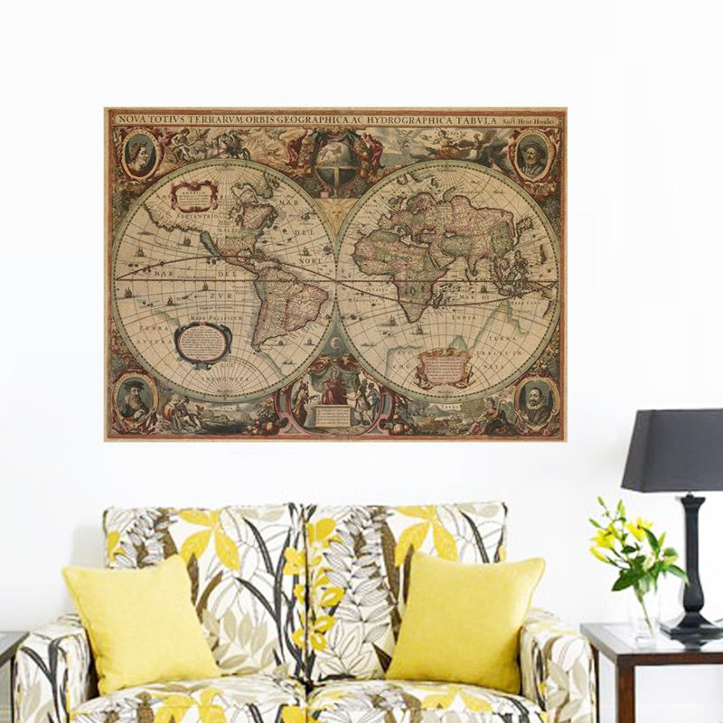 Ehome retro kraft paper poster nautical world map home decor ehome retro kraft paper poster nautical world map home decor living room tv background wall decoration gumiabroncs Image collections