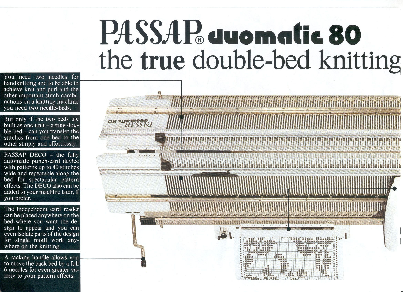 PASSAP DUOMATIC 80 DOUBLE BED KNITTING MACHINE   knitting machine ...