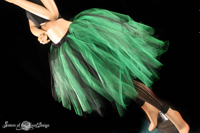 adult tutu skirt bustle back costume bridal gothic halloween green black dance