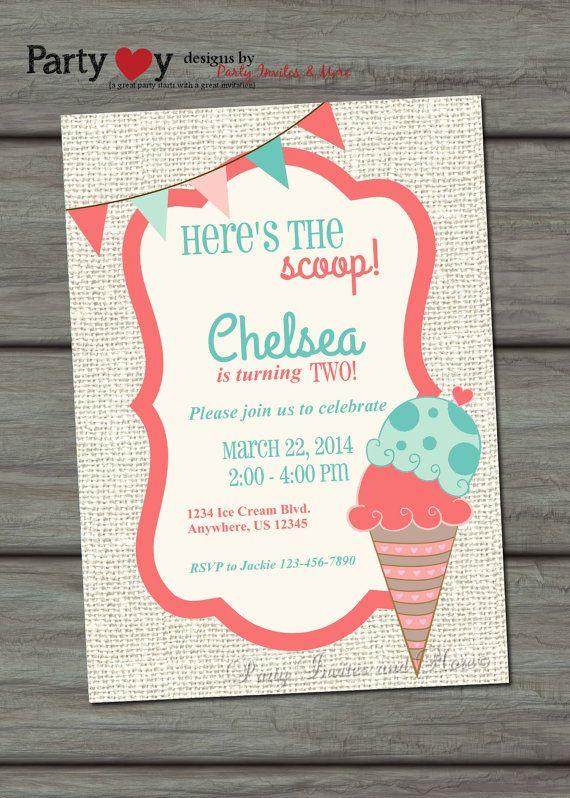 Ice Cream Invitation Ice Cream Birthday Invitation Ice Cream Party