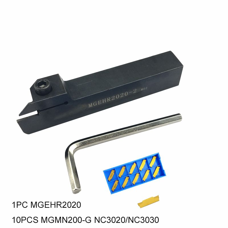 10pcs MGMN300-M Inserts 1pc MGEHR2525-3 CNC Lathe Grooving Turning Tool Holder