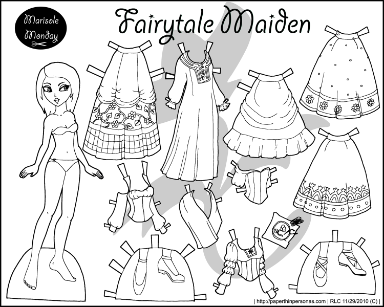 A Fairy Tale Maiden Black And White Princess Coloring Page To Print Dress Up Shes Free Paper Doll From Paperthinpersonas