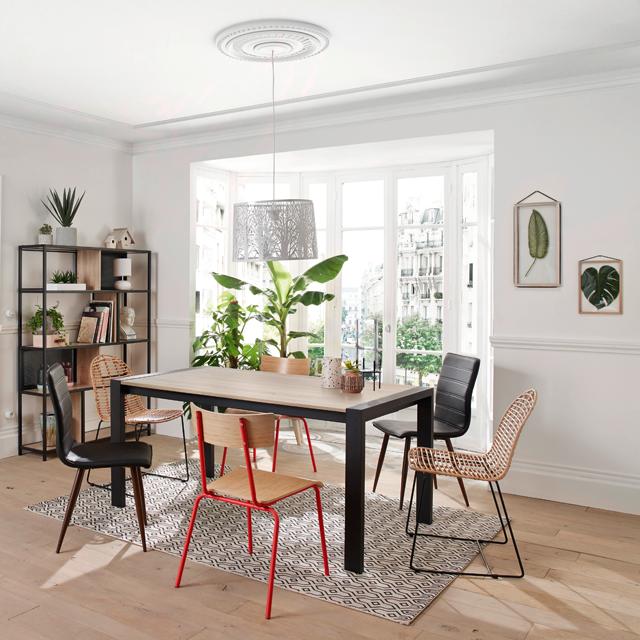 Table Rectangle 2 Allonges Camden Chene Sonoma Noir Meuble Chene Idees De Design D Interieur Mobilier De Salon