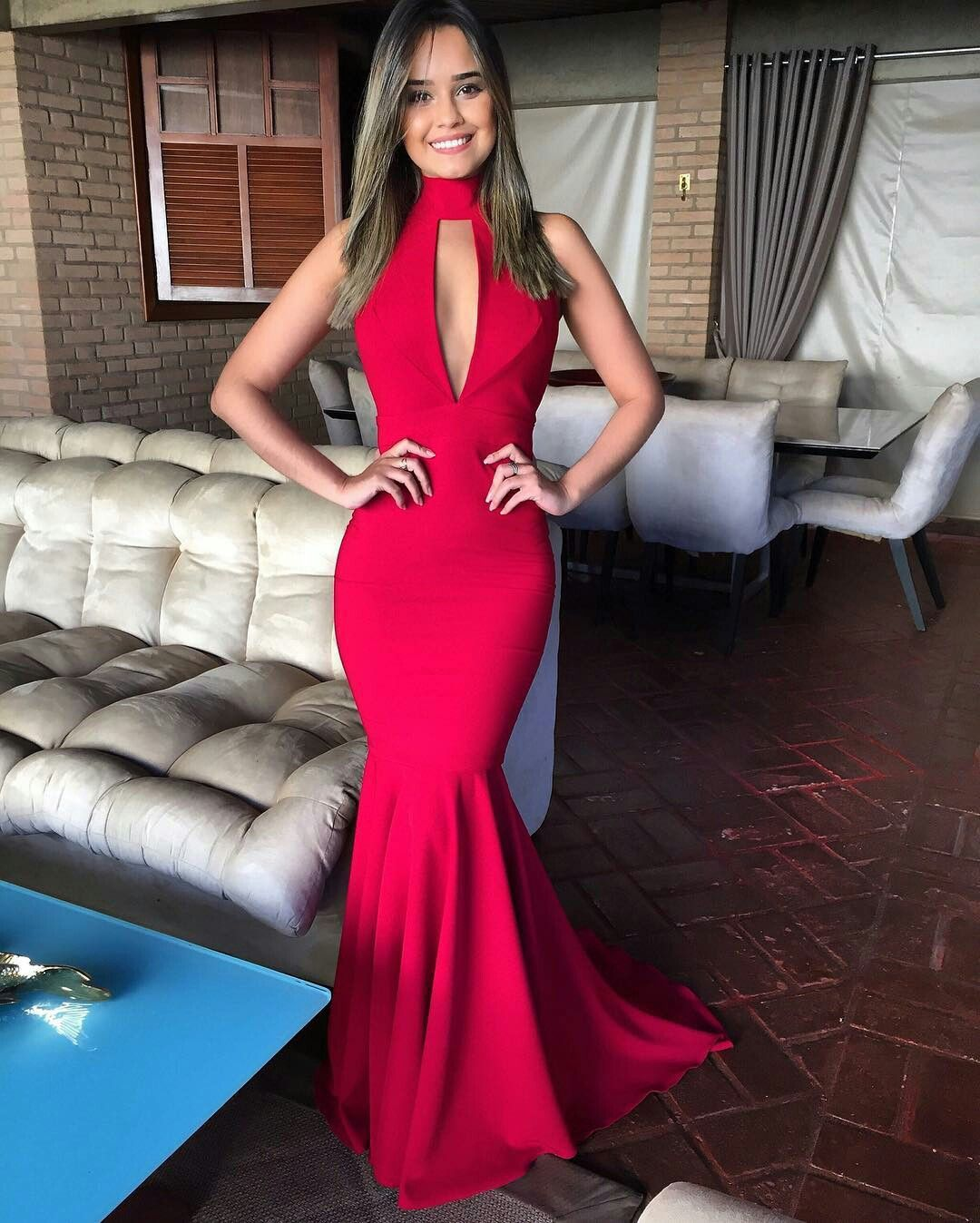 Elegant high neck mermaid evening dress sexy cut outs backless