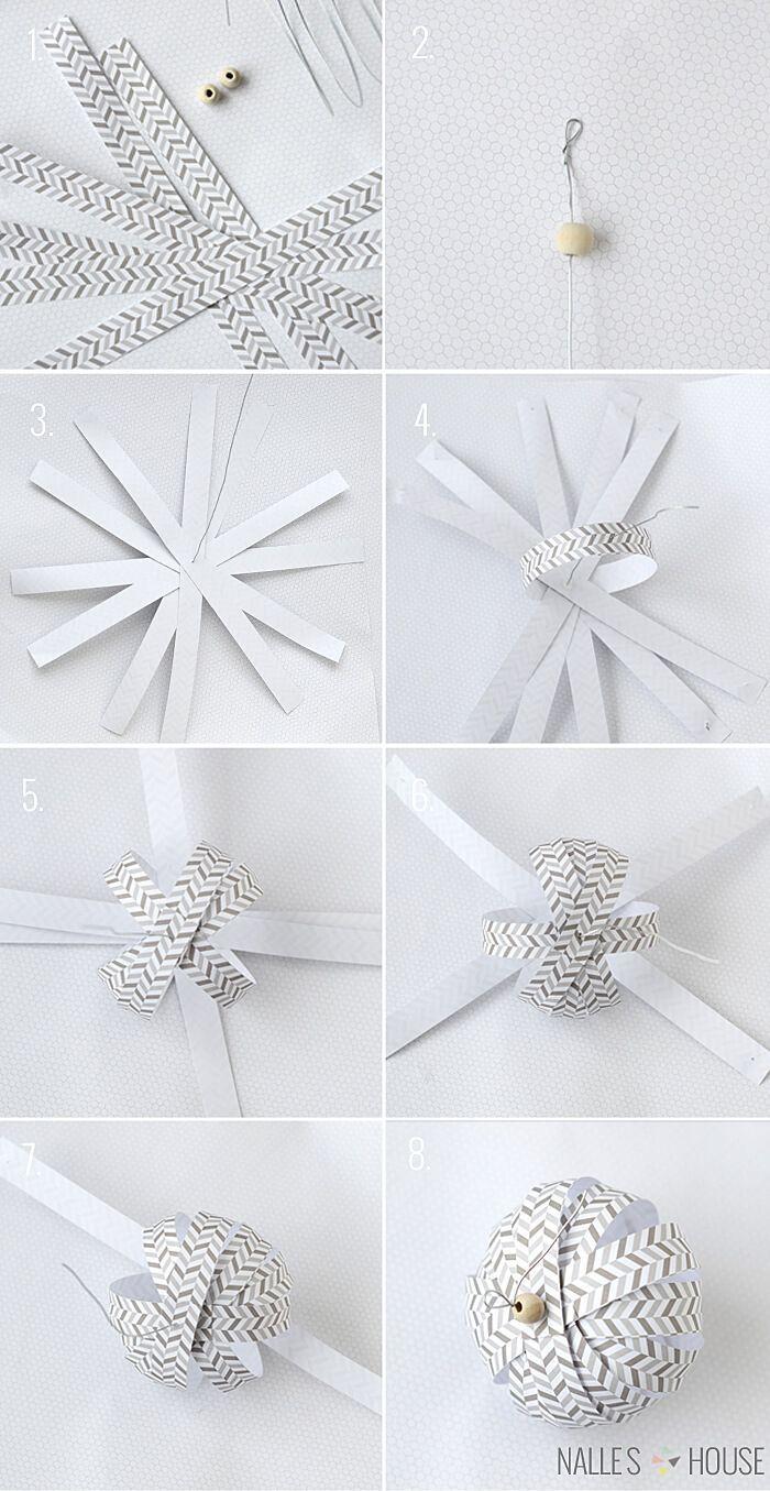 DIY Weihnachtsbaum-Schmuck Ideen aus Papier, Weihnachtsdeko selber basteln, Weih...